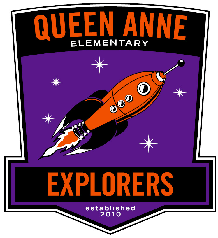 Queen Anne Explorers logo with a graphic of a rocket